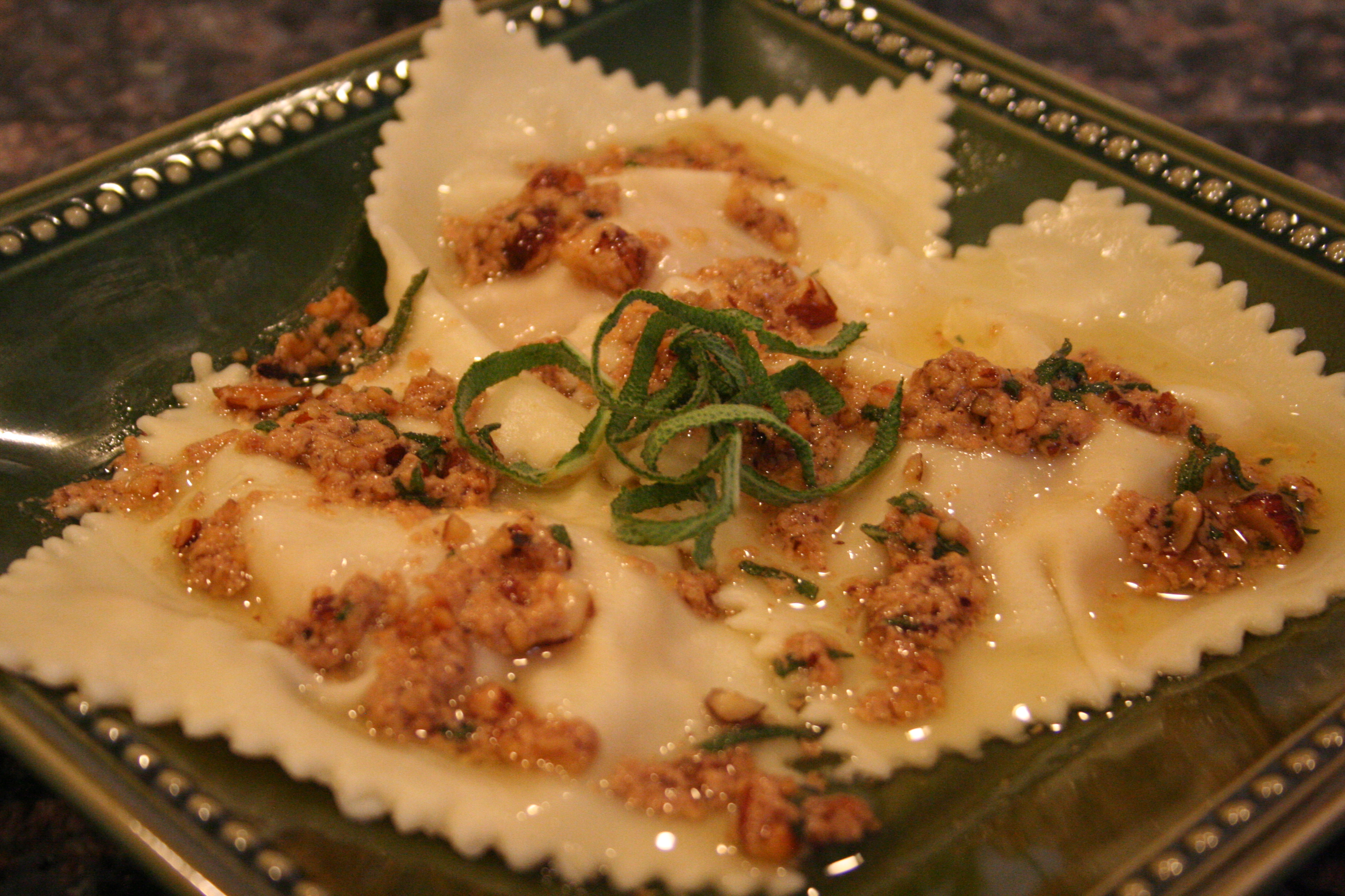 of fall. [homemade butternut squash ravioli w. brown butter sauce ...