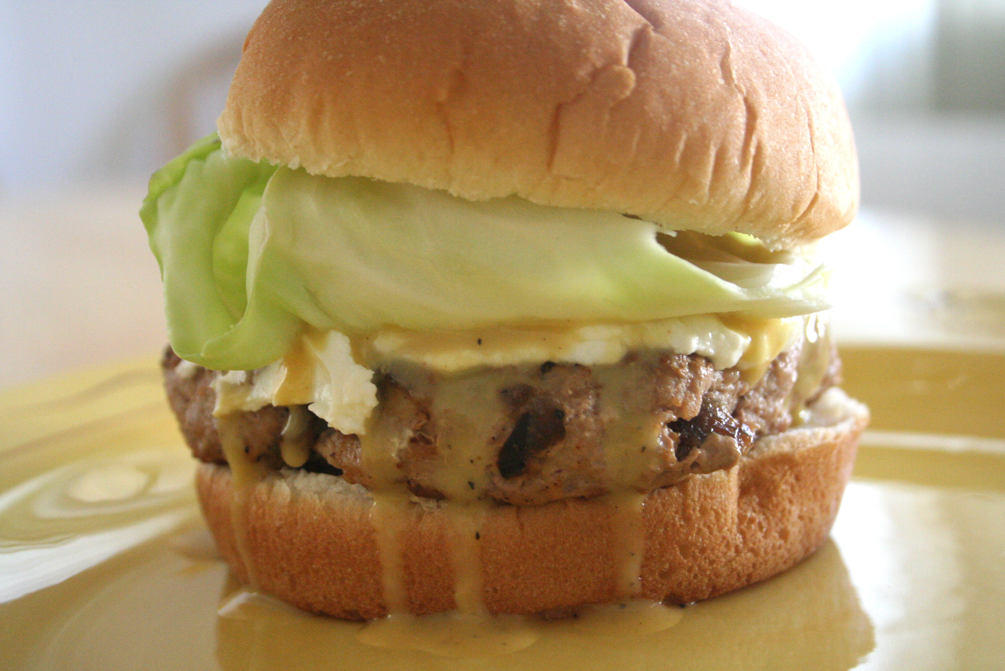 succulence. [turkey burger w. lemon-honey mustard sauce & goat cheese ...