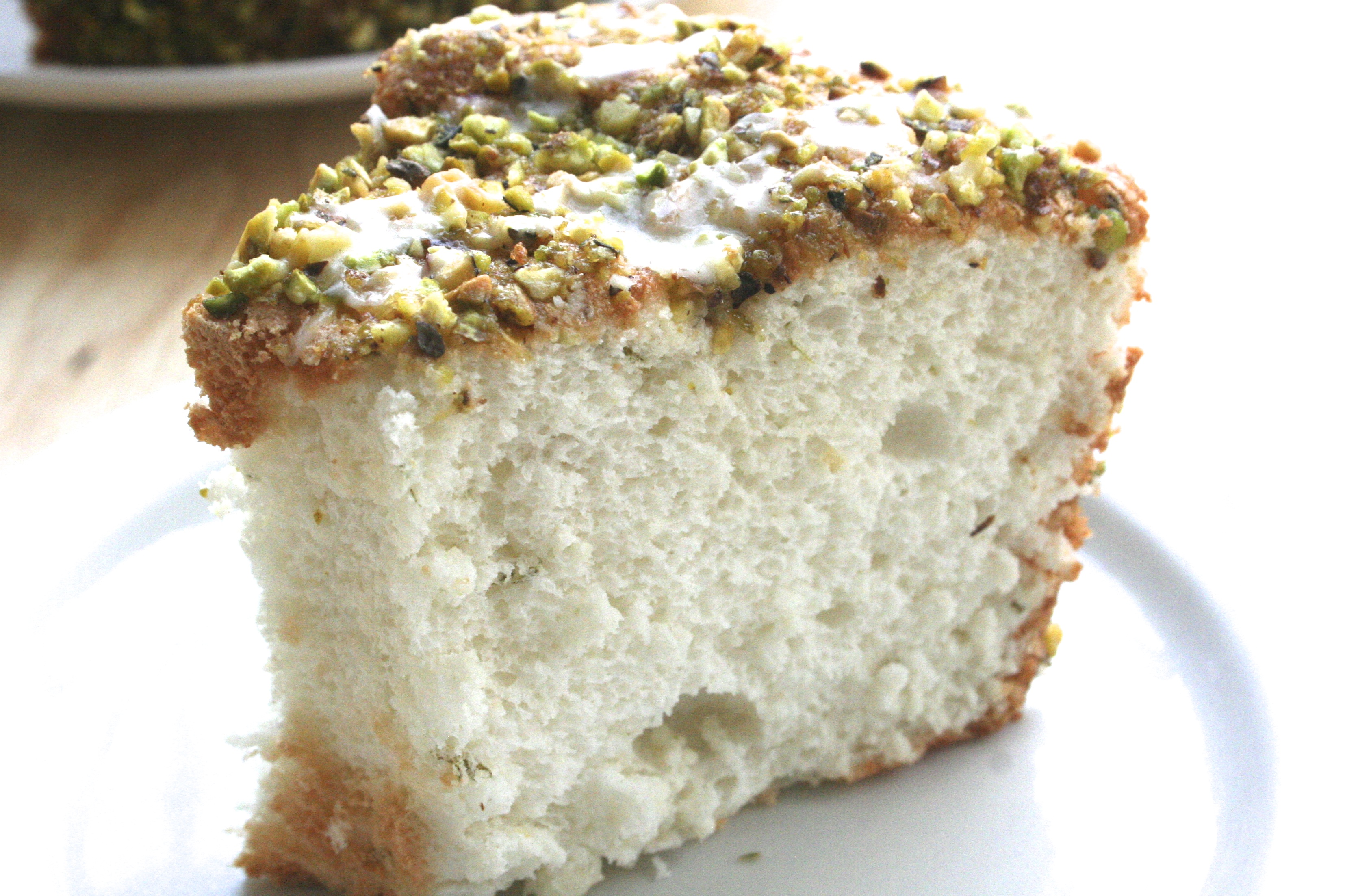 something different. [lime angel food cake w. lime glaze & pistachios ...