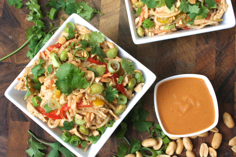 ... soba noodle salad w. spicy peanut sauce, shredded chicken & veggies